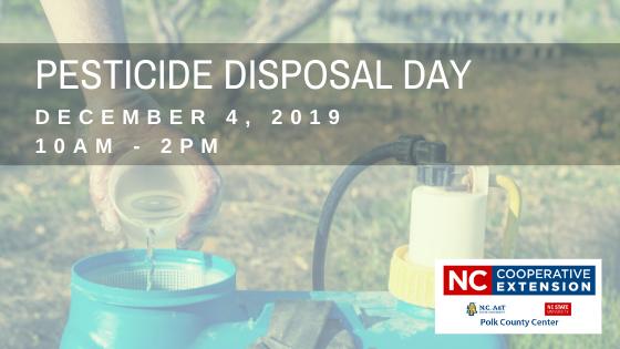 NC Pesticide Disposal Event 2019