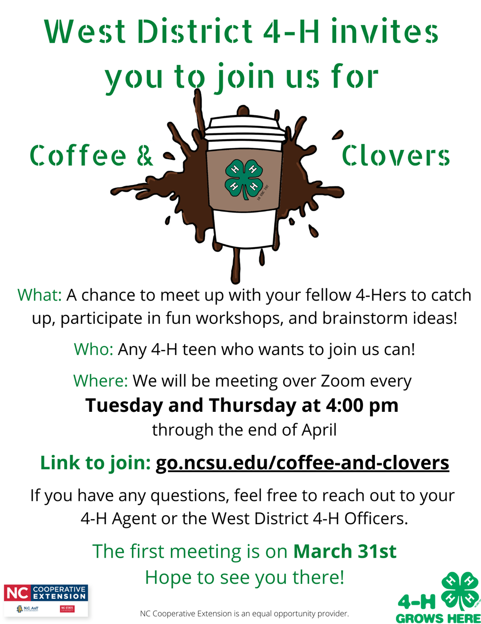 Coffee and Clovers flyer image
